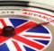 Dial with english flag with needle pointing the word advanced. concept image for illustration of english courses levels